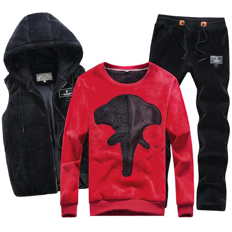 Hoodie Sweatshirt Trainingsanzug Velour Samt Fleece Warme Hoodie Winter Mantel Mit Kapuze Hip Hop Männer Casual Pullover Männlichen 3 stücke