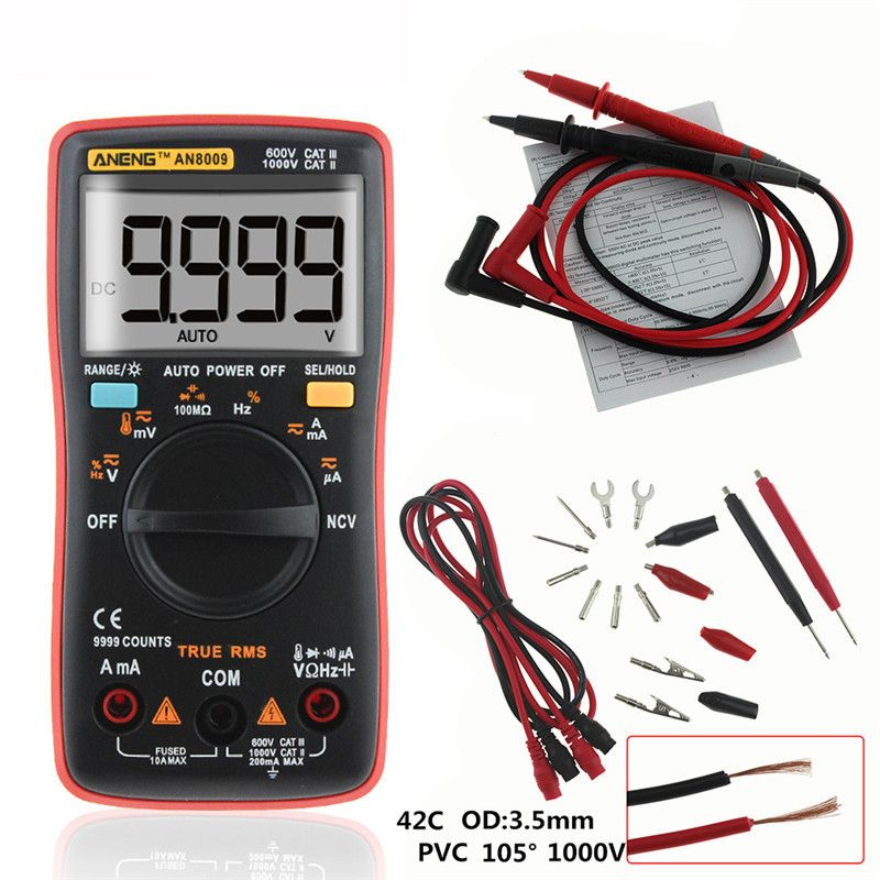 Auto Range Digital Multimeter 9999 counts Backlight AC/DC Ammeter Voltmeter Ohm Transistor Tester multi meterAN8008 AN8009