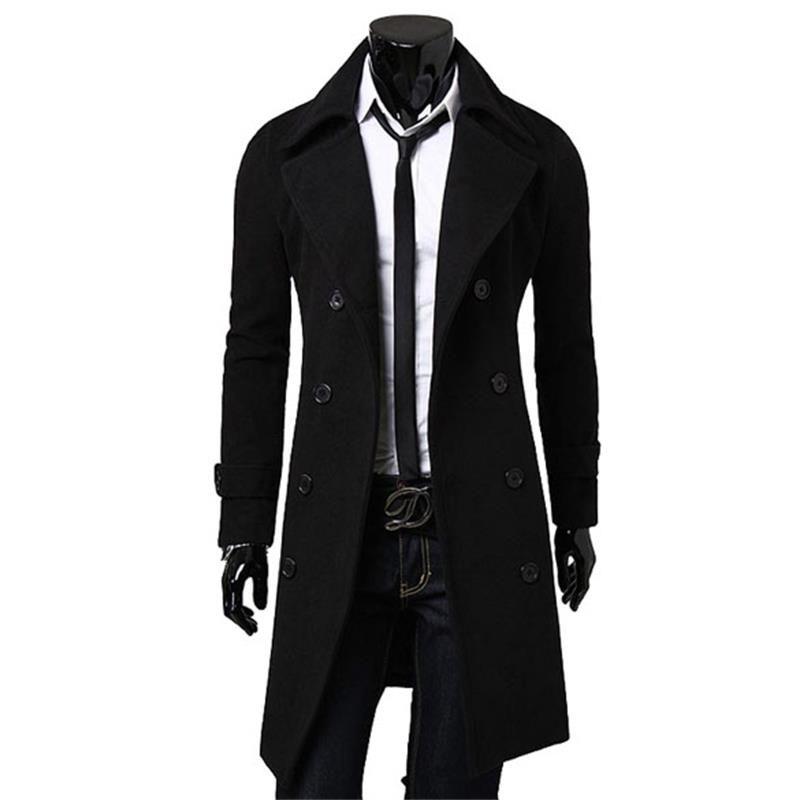 Для Мужчин's Peacoat весна/осень мода Для мужчин шерстяная верхняя одежда зима гороха пальто горох Пальто для будущих мам двубортный Тренчи для ...