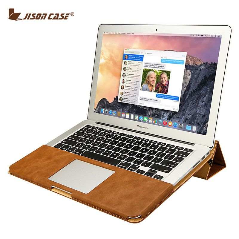 Jisoncase Leather Stand Cover Case For MacBook Air Pro Retina 11 12 13 15 inch Folio Case Sleeve Luxury Laptop Bags Cases PU