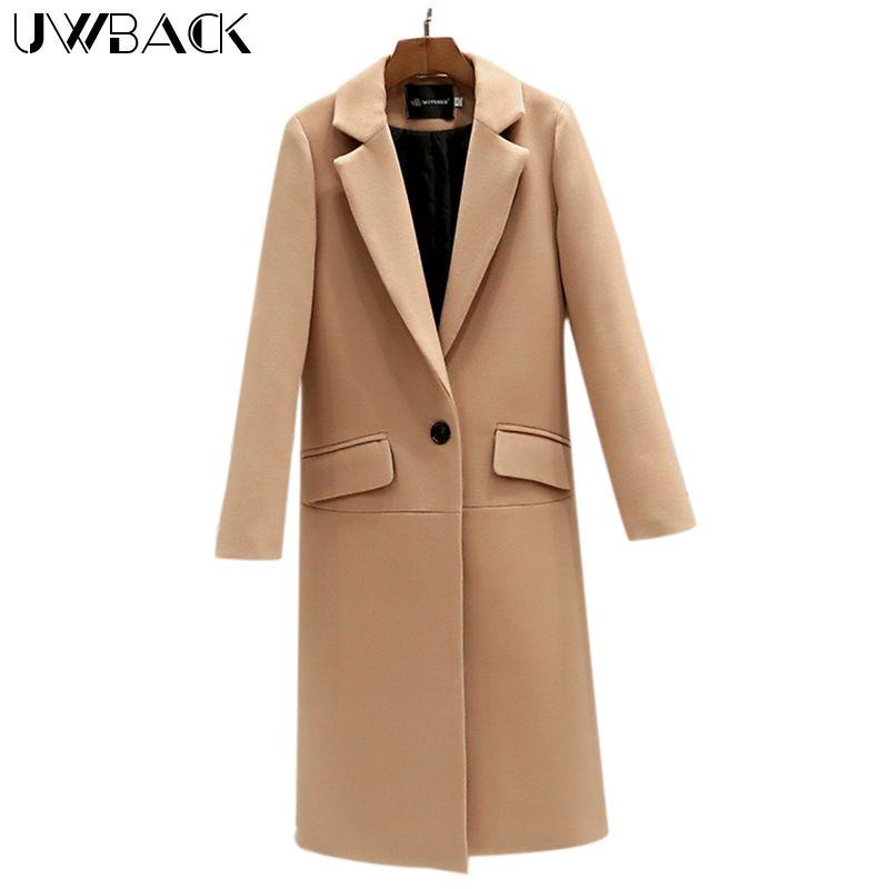Uwback 2018 Spring Brand Trench Coat Women Long Straight Cloak Femme Casual Windbreaker Wool Coats Mujer Plus Size 2XL OB308