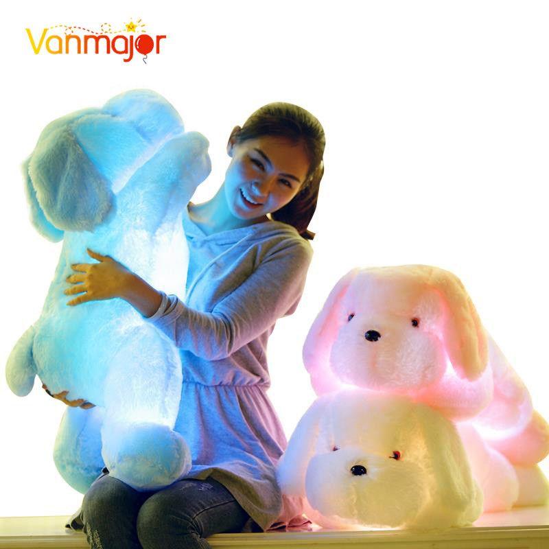 1 pièces 50 CM/75 CM longueur créative veilleuse LED beau chien en peluche et jouets en peluche meilleurs cadeaux pour les enfants et les amis
