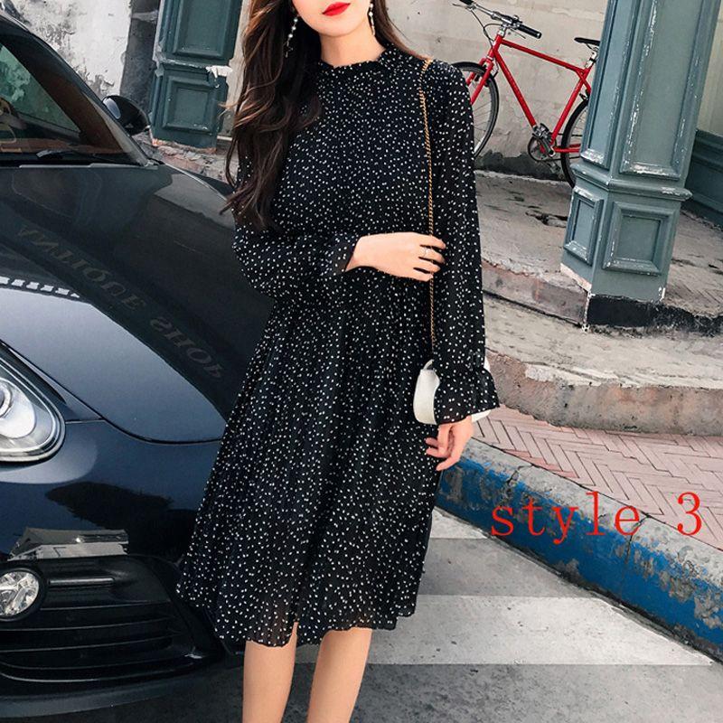 Deux couches Floral robe en mousseline taille elastique Femmes Printemps A-ligne à lacets Flare Manches robe bohème Femme Robes 2019