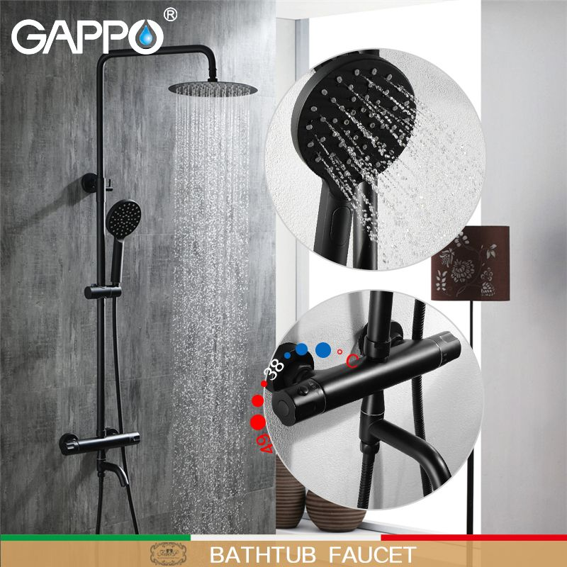 GAPPO dusche Armaturen badewanne armaturen bad mischer wasserfall dusche köpfe mixer wasser dusche bad-sets schwarz dusche armaturen