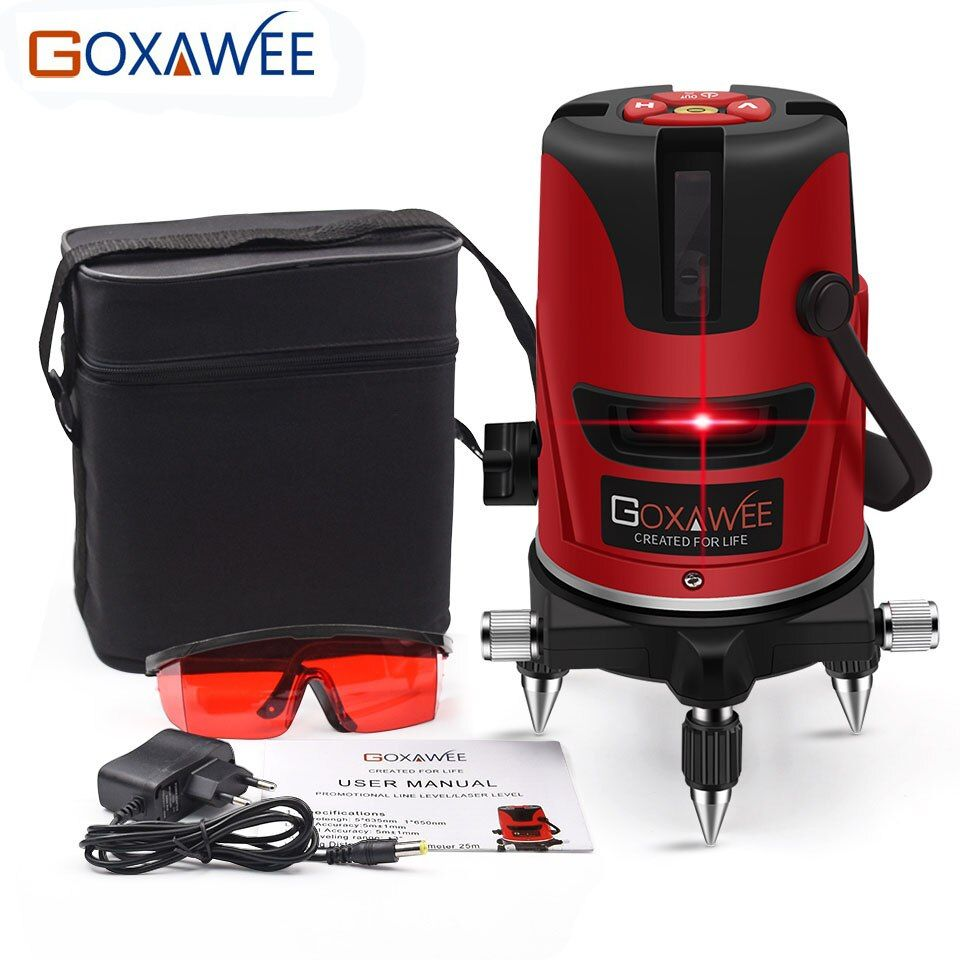 GOXAWEE 360 Degree Red Green Laser Level 5 Lines 6 <font><b>Points</b></font> Vertical & Horizontal Rotary Laser Level Self Leveling Measuring Tools