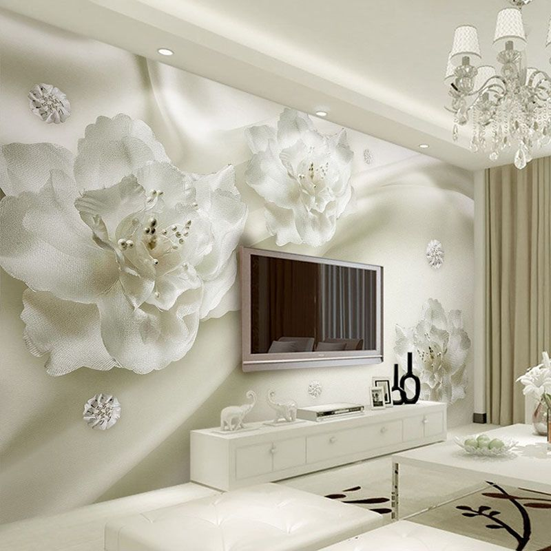Custom Any Size 3D Wall Murals Wallpaper Silk Flower European Style 3D TV Background Large Wall Painting Living Room Mural Paper