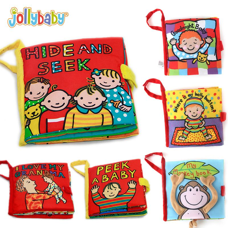 Jollybaby Baby Soft Cloth Books Peek A Boo Activity Crinkle Cover Book Educational Infant bebe Toys for Children 0-12 month Gift