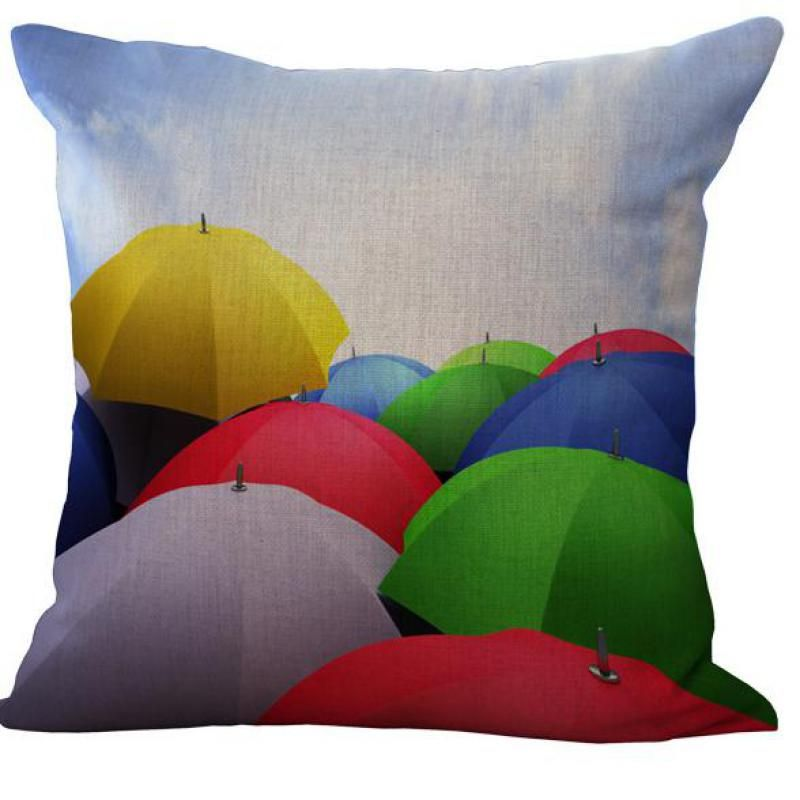 Factory Supply Color Pencil Umbrella Feather Dynamic Corrugated Whirlpool Colorful Variety Creative Linen Pillow Cushion