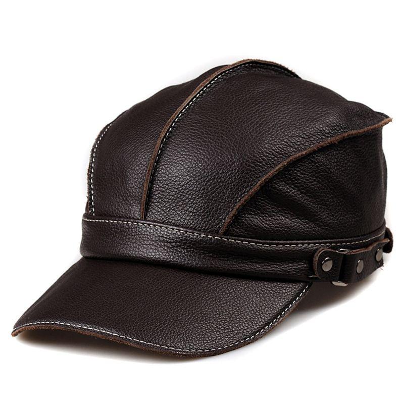 Svadilfari 2018 Winter Real Leather cowskin hat men casual Baseball Cap Hat ear warm leather peaked cap Adjustable High Quality