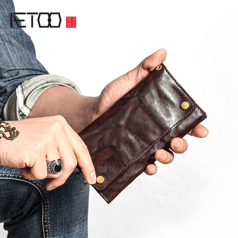 AETOO Retro wallet men long section young tide ultra-thin soft Doka bit leather Japan and South Korea personality full leathe