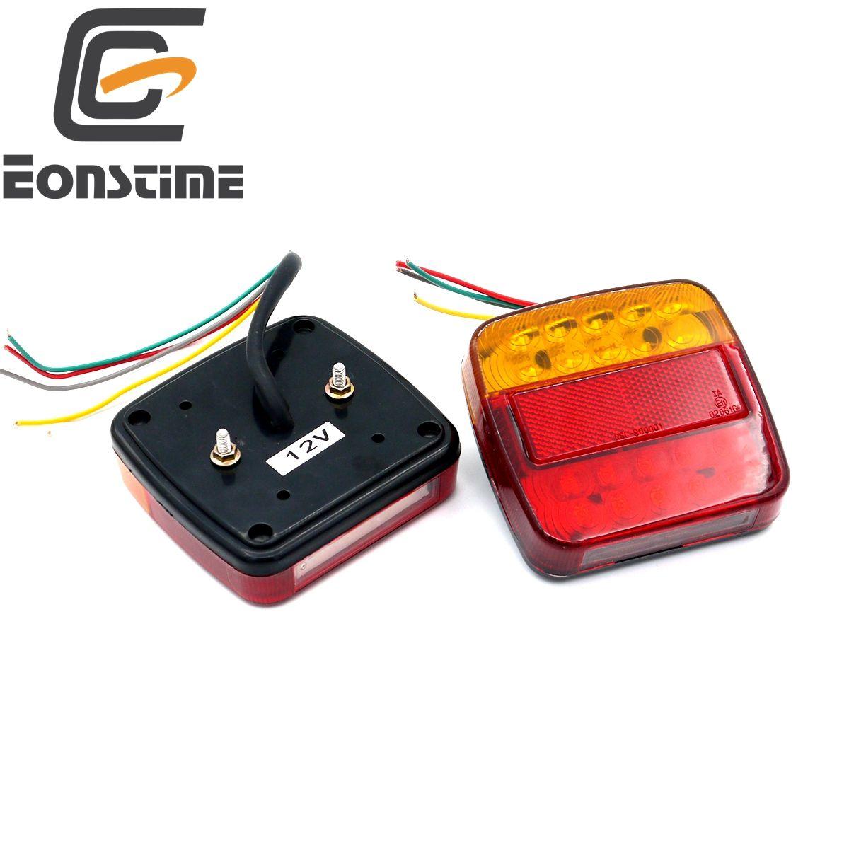 Eonstime 2pcs 12V  Trailer Truck 20 LED Taillight Tail Light Rear Lamps Turn Signal Brake 6 LED Number Plate Light Lamp