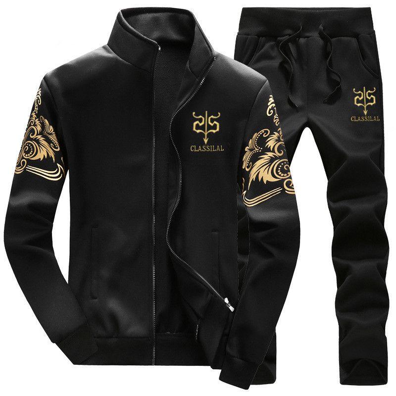 2017 Mens Brand Outwear Tracksuit Men Jackets+pants 2pc Mens Hoodies and Sweatshirts Mens Slim Fit Sportswear Plus Size 3XL 4XL