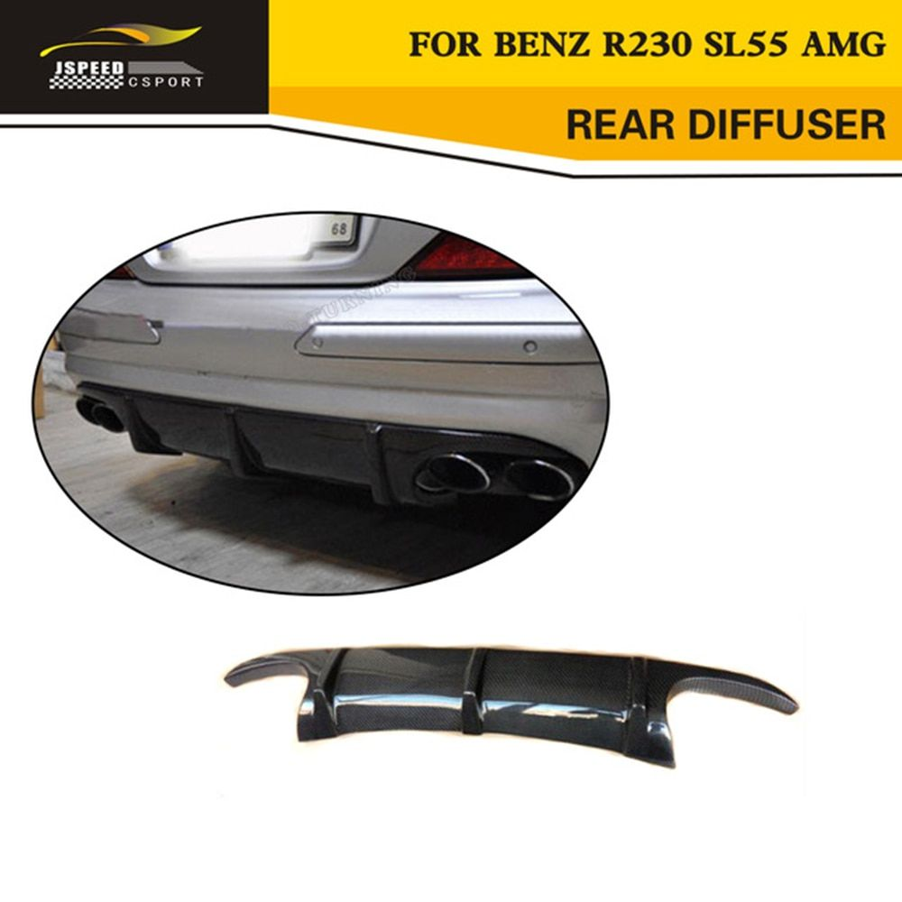 Car Styling Carbon Rear Diffuser Lip Spoiler For Benz R230 SL55 AMG Bumper Only