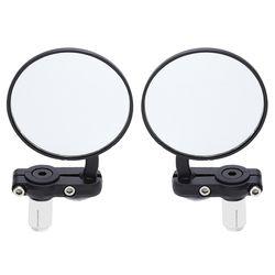 2 Pcs Universal Moto Miroir En Aluminium Noir 22mm Poignée Bar End Rétroviseurs Latéraux Moteur Accessoires