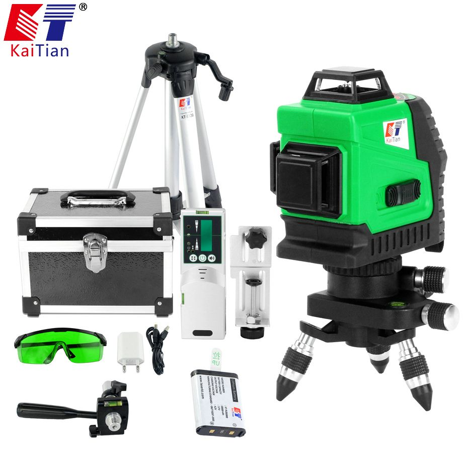 Kaitian Tripod for Laser Level Self Levelling Green 12 Lines Construction Tools Receiver Rotary 360 Leveling 5/8 Nivel laser 3D