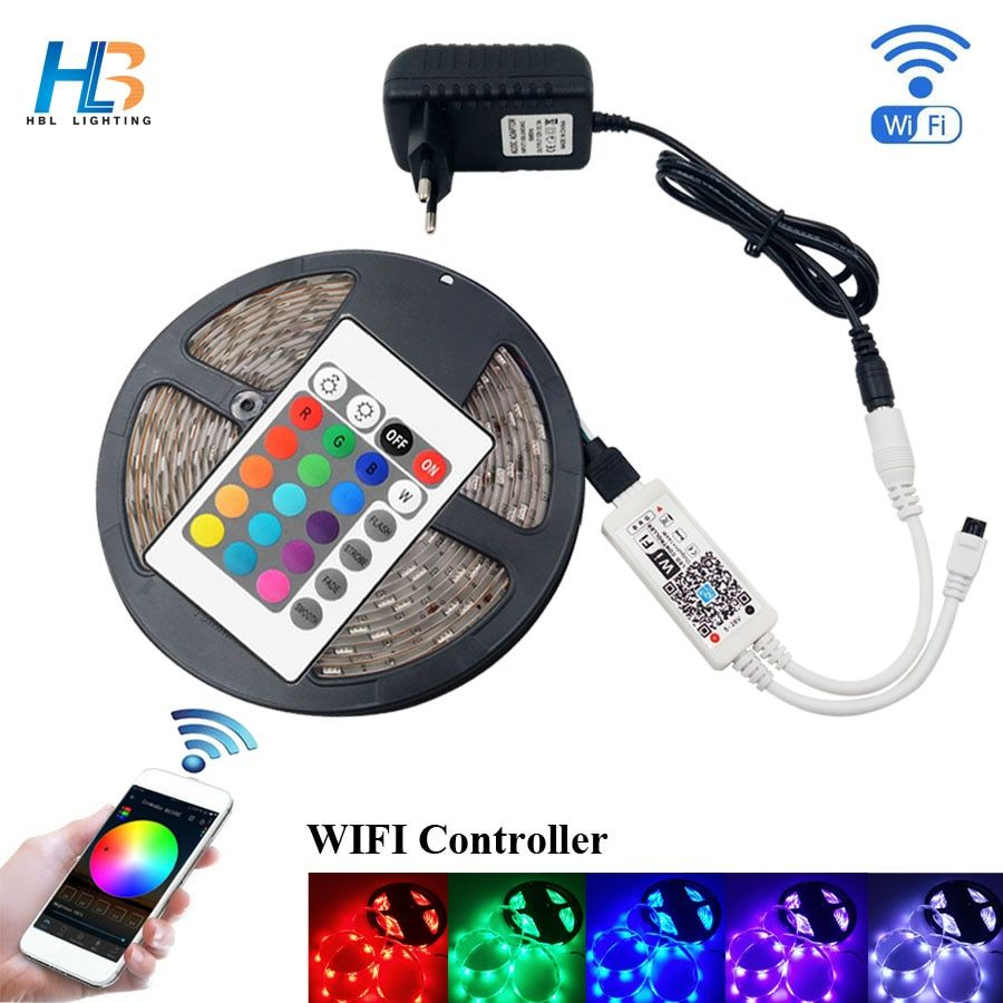 HBL LED Strip Light 4M 5M <font><b>5050</b></font> IP20 diode tape 8M 10M rgb strip led ribbon with adapter and WIFI led controller full kit