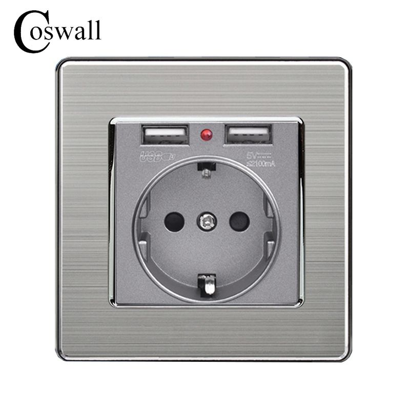 Coswall Dual USB Charging Port 5V 2.1A LED Indicator 16A Wall EU Power Socket Outlet Stainless Steel Panel Grey Black White Gold