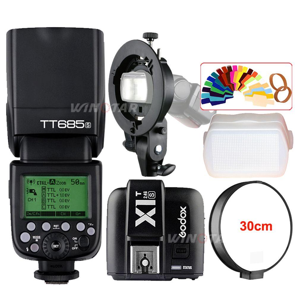 Godox TT685S 2.4G HSS TTL Camera Flash + X1T-S Trigger + Bowens Bracket for Sony A77II A7RII A7R A99 A58 A6500 A6000 A6300