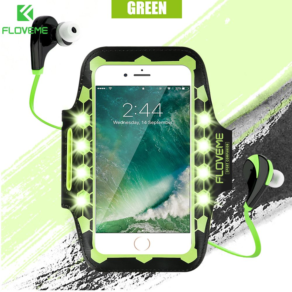 FLOVEME LED Switch Glows Arm Band Case For iPhone 6 6s 7 Plus Case Fitness Armband Cover Coque For iPhone 6 6s 7 Pouch Bag Shell