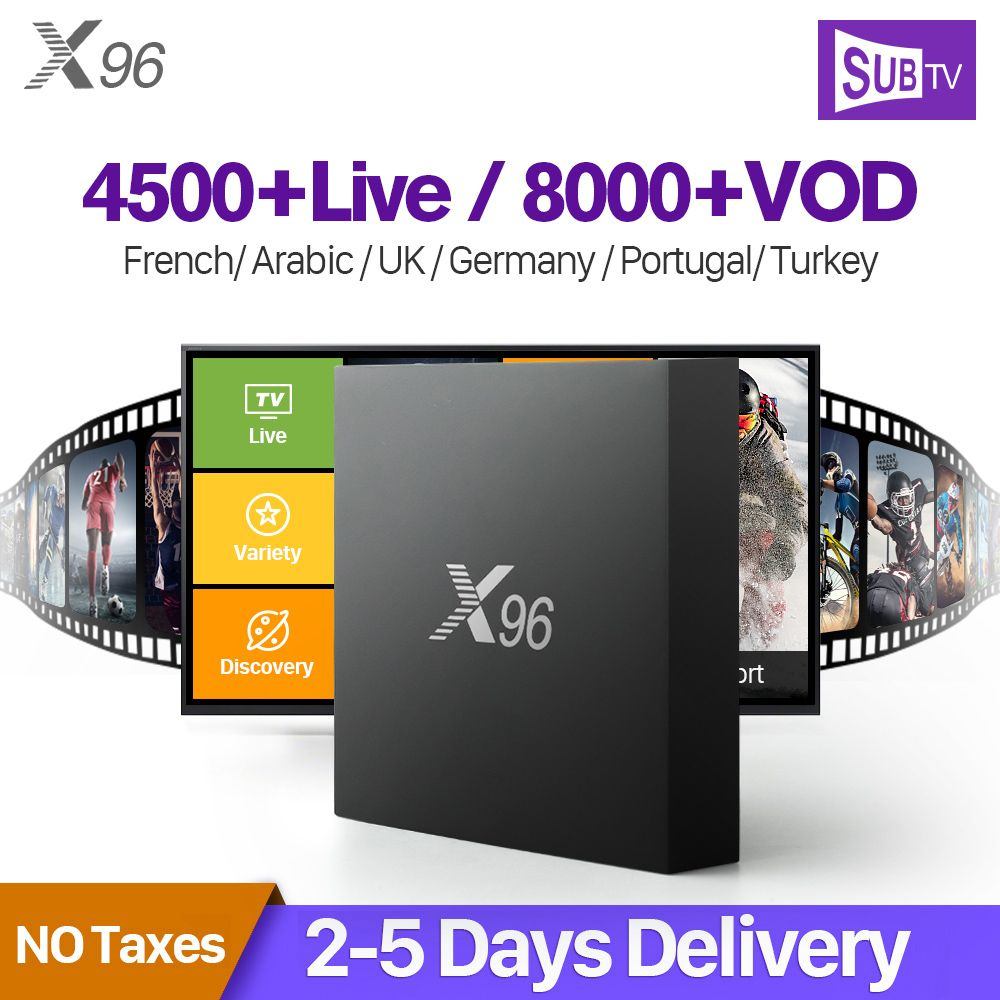 X96 France <font><b>Arabic</b></font> IPTV Receiver Android Amlogic S905X Octa Core Wifi TV Box With SUBTV IPTV Subscription 1 Year IPTV French