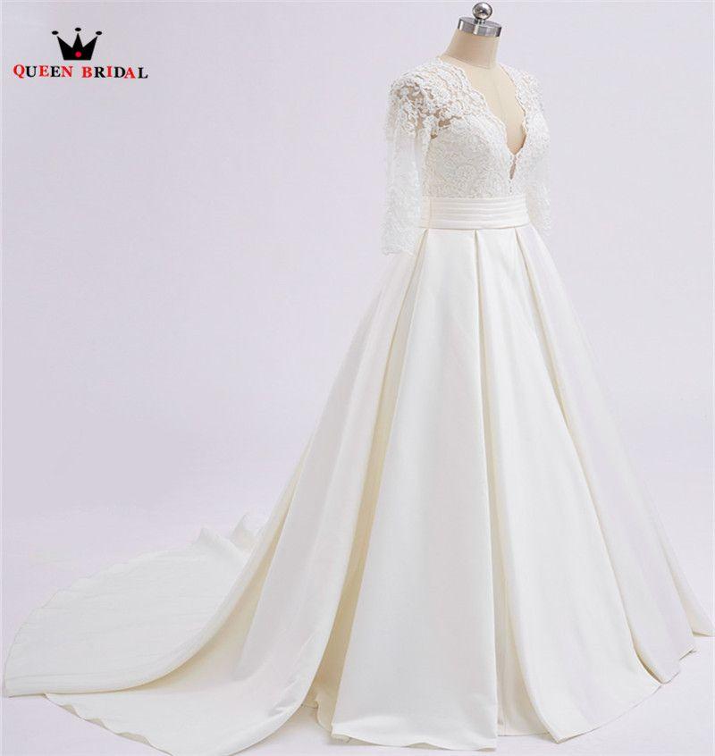 A-line V-ausschnitt 3 4 Hülse Spitze Satin Elegante Lange Formale Brautkleider 2018 Real Photo Hochzeitskleid Nach Maß XH71