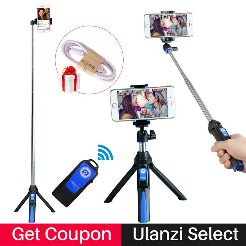 Benro Mefoto Selfie Stick with Rear Mirror and Bluetooth Remote Shutter Monopod Fill Light for <font><b>iPhone</b></font> 8 Plus Selfie Stick Tripod