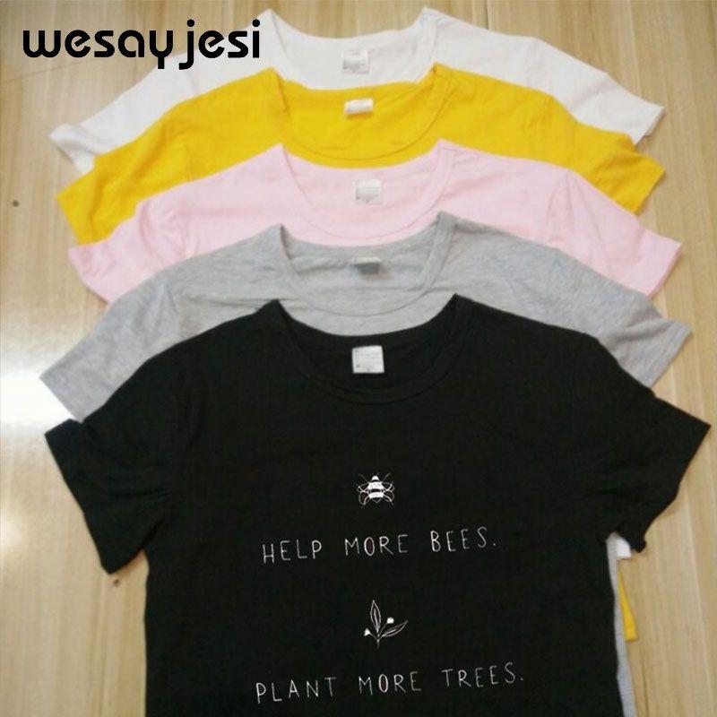 2019 T-shirts abeilles plante éléphant imprimé Harajuku grande taille T-shirts drôles femmes haut à manches courtes col rond haut en coton