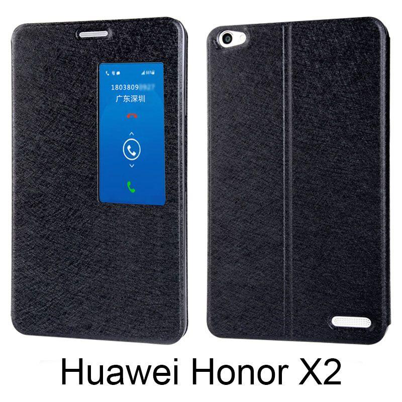 Pour Huawei honor X2 MediaPad X2 Flip couverture en cuir Pu couverture arrière smart fenêtre soie texture 7.0
