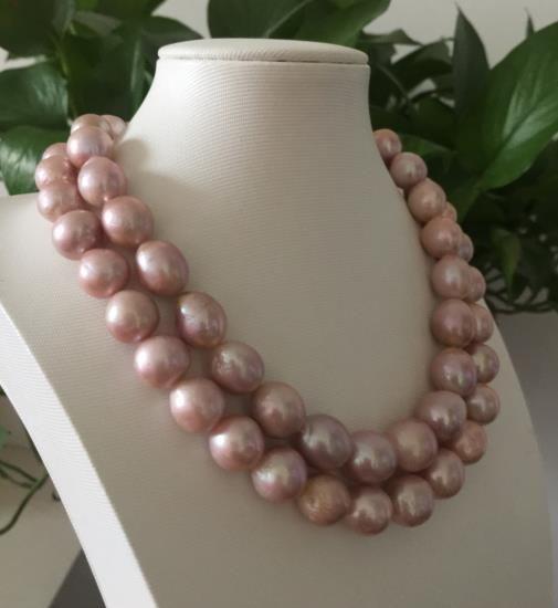 Einzelstränge 14-15mm süßwasser barocke lavendel perlenkette 38
