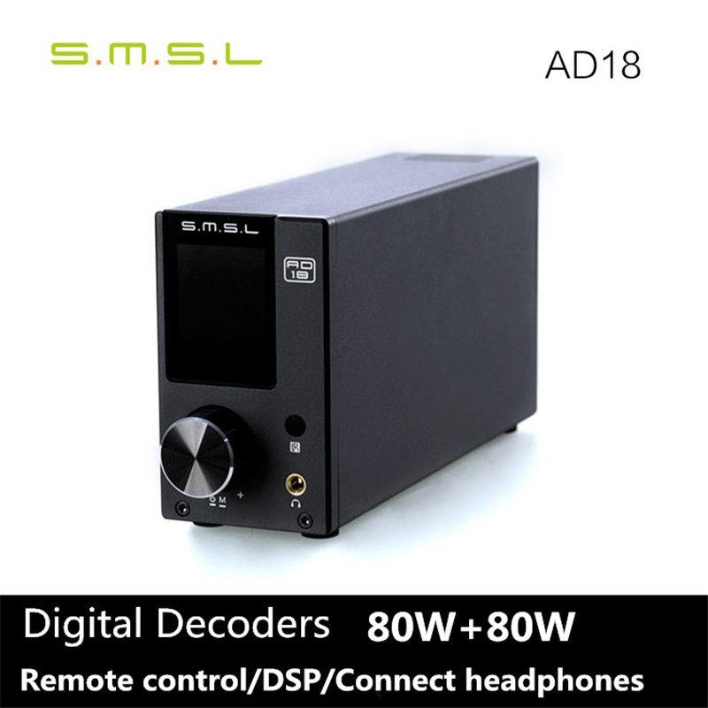 SMSL AD18 80 Вт * 2 DSP Hi-Fi Bluetooth 4.2 чистый цифровой аудио оптический усилитель/коаксиальный USB DAC декодер с удаленным Управление TAS5580C