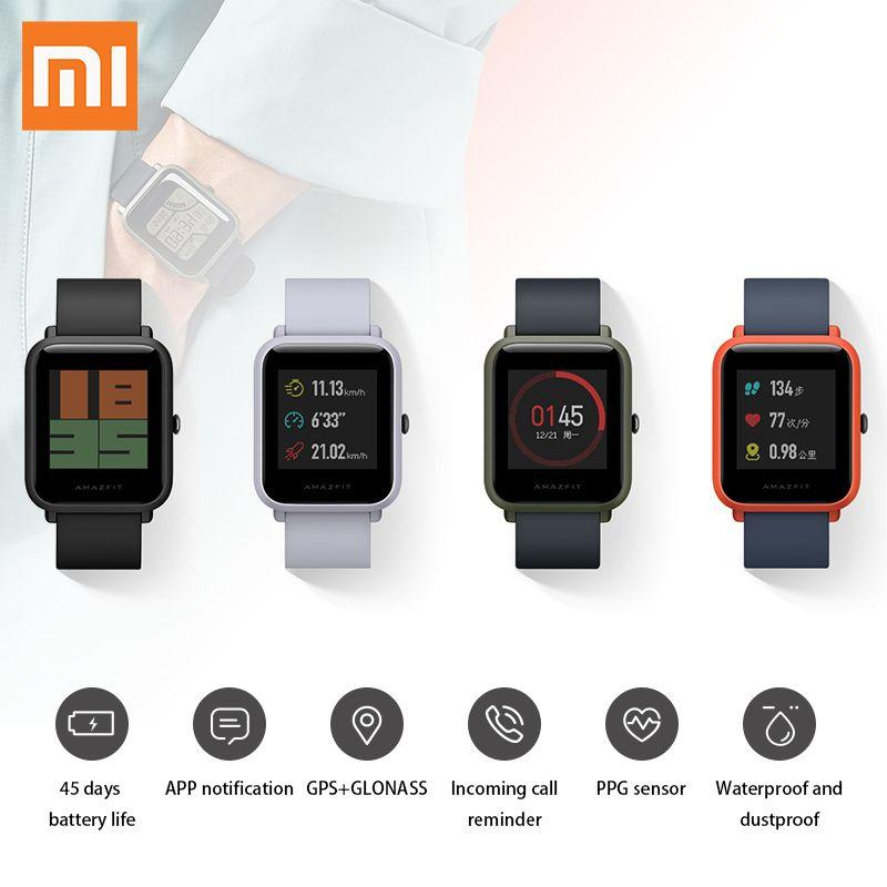 Original English Version Xiaomi Amazfit Huami Smart Watch Youth Bip Lite IP68 Bluetooth 4.0 45 Days Battery GPS Heart Rate