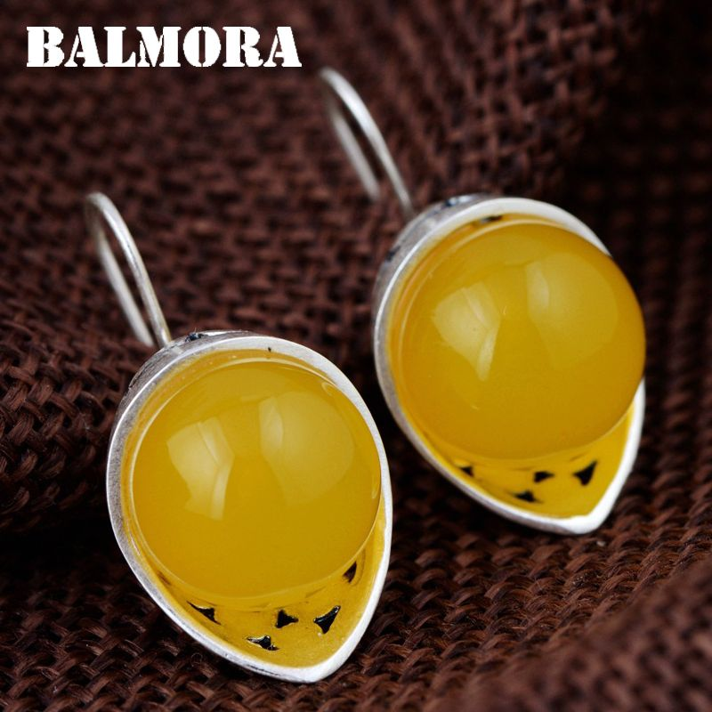 BALMORA 990 Pure Silver Yellow Chalcedony Earrings for Women Mother Gift Retro Elegant Earrings Silver Jewelry Brincos MN30912