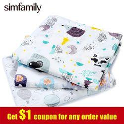[Simfamily] 1 PC Kain Katun 100% Katun Bayi Swaddles Lembut Bayi Deken Kasa Bayi Selimut Wrap Tidur Nyenyak Swaddleme Manta (Disambiguasi) cobertor