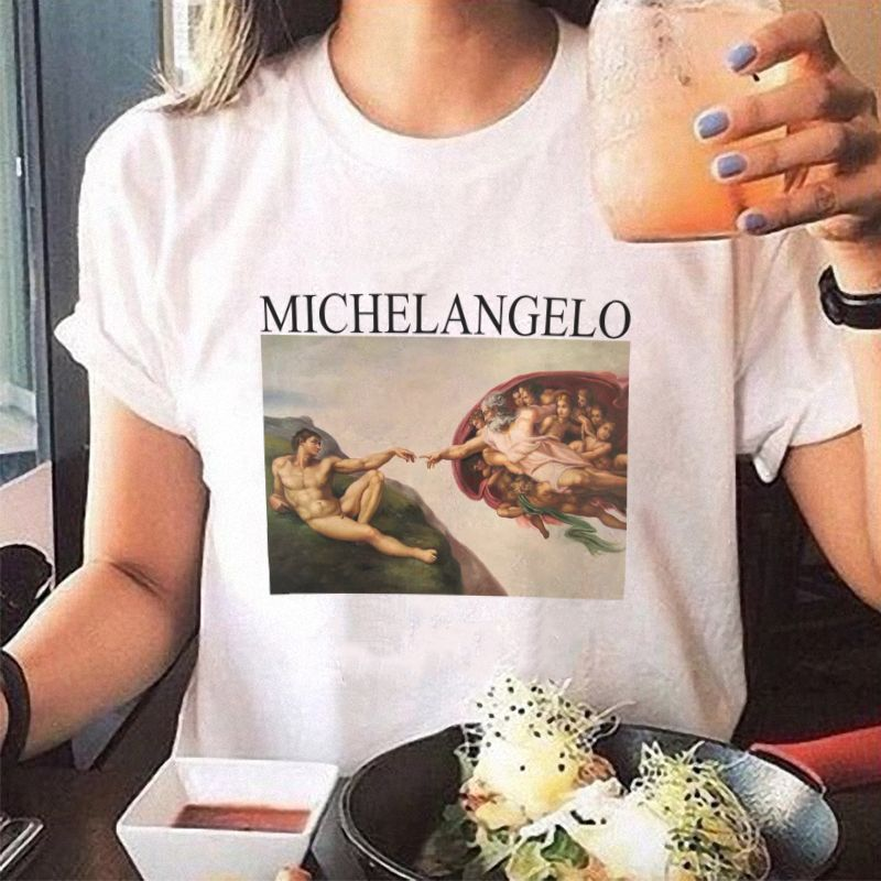 summer t shirts womens spaghetti off the shoulder tops for women Michelangelo Pattern print tee shirt femme aesthetic clothes