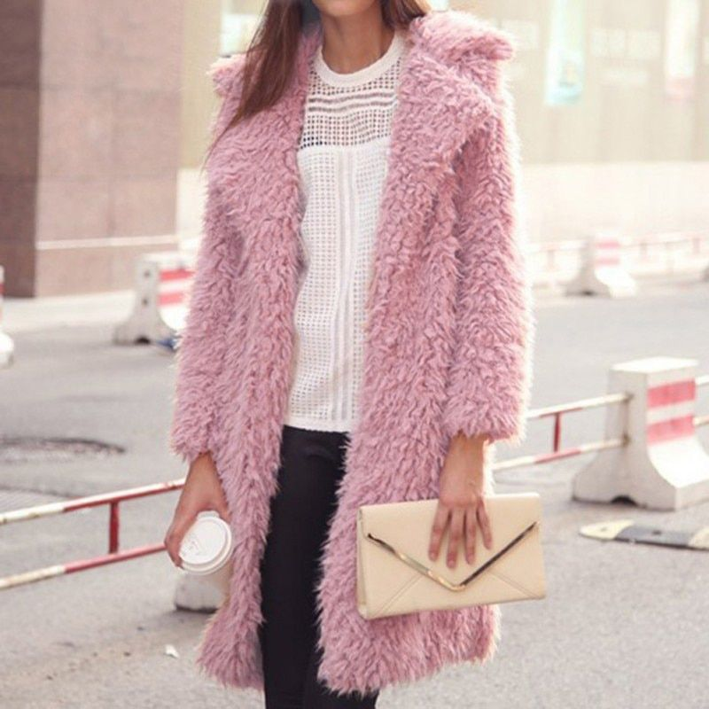 2017 Women Winter Autumn Jacket Long Women Coat Slim Suit Collar Long Style Soild Pink Black Gray Coat Female Jacket
