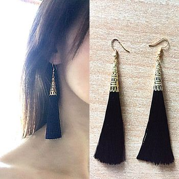 Ethnic Pattern Long Tassel Drop Earrings for Women Fashion Dangle Brincos Fiber Brush Earring Geometric Boucle d'oreille