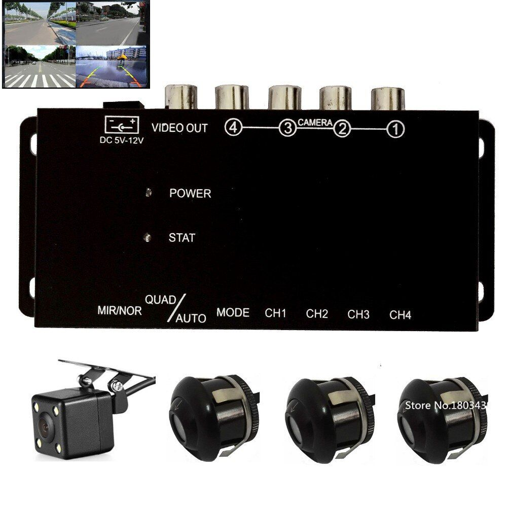 IR control 4 Cameras Video Control Car Cameras Image Switch Combiner Box With Front Rear view Right Left view 4 Cameras