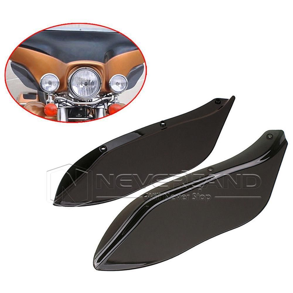 2pcs Side Wings Air Deflectors Windshields For Harley Touring FLHR FLHT FLHX 1996-2013 Black Freeshipping D10