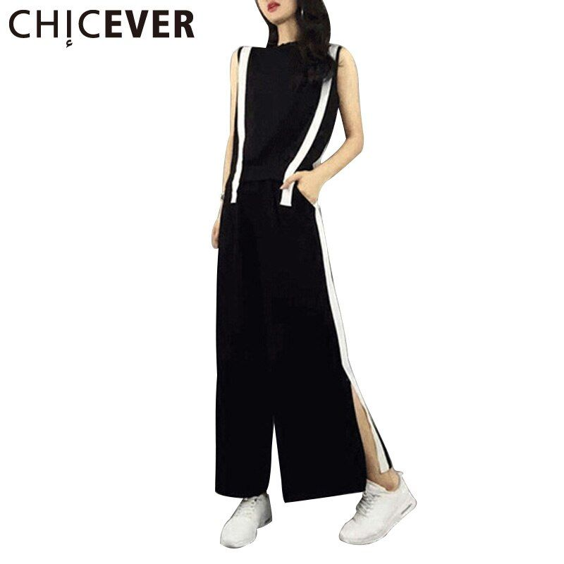 CHICEVER 2017 Summer Two Pieces Set Women Slim Sleeveless T shirts +Elastic Waist Split Sexy Casual Plus Size Female Pants