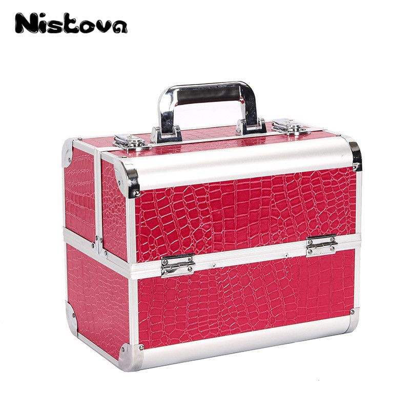 New Professional PVC Large Capacity Cosmetics Box Double Open Multilayer Cosmetics Box Portable Multi-function Toolbox