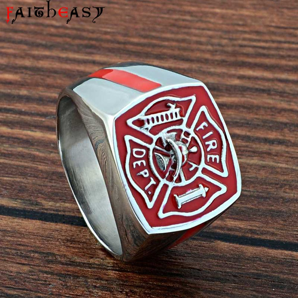 FAITHEASY Stainless Steel Ring Men Fashion Vintage Jewelry Fire Fighter Punk Titanium Ring for Mens Size 7-14 Drop Shipping