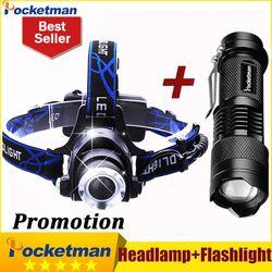 Lámpara de Cabeza LLEVÓ la Linterna DEL CREE T6 3800LM faros faros + CREE Q5 Mini linterna 2000lm Zoomable Taschenlampe Zaklamp
