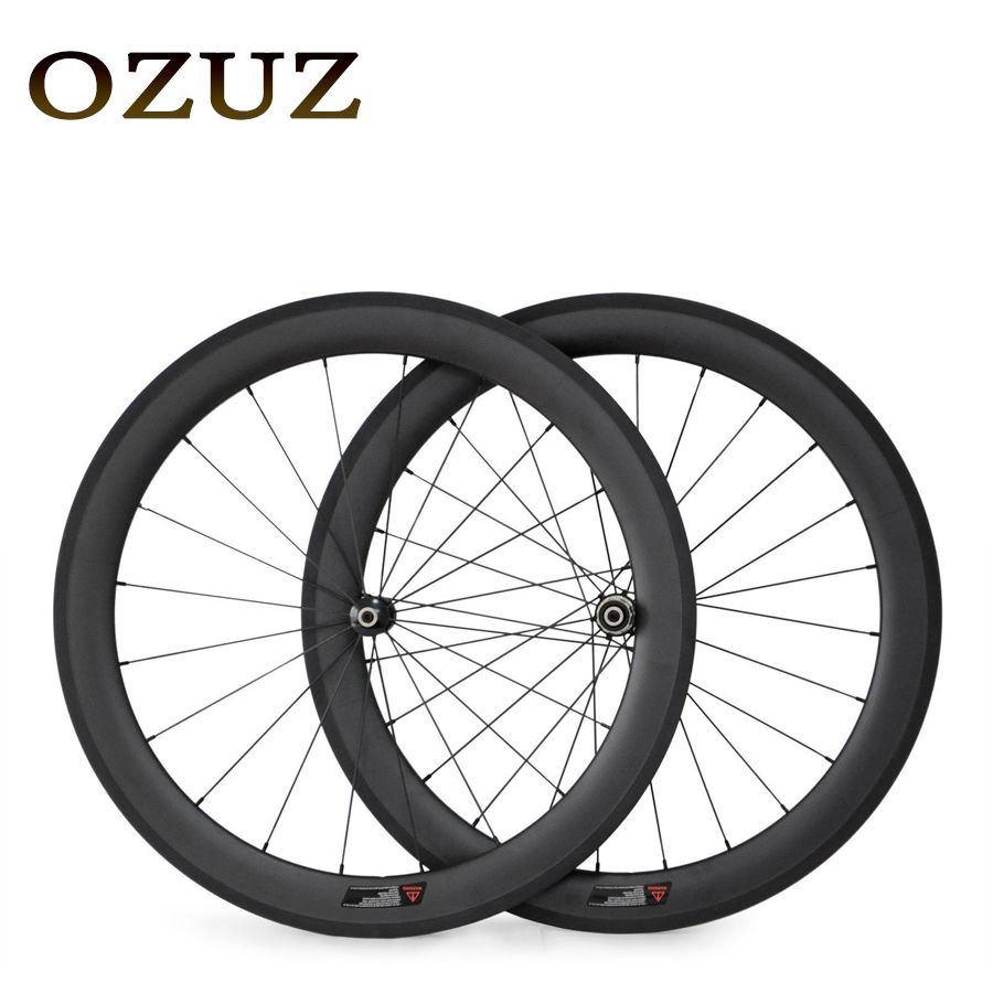 Factory Sales 700C Carbon Wheels Straight Pull 50mm Depth Clincher Carbon Road Bike Bicycle Wheelset Powerway R36 Hub 23mm Width