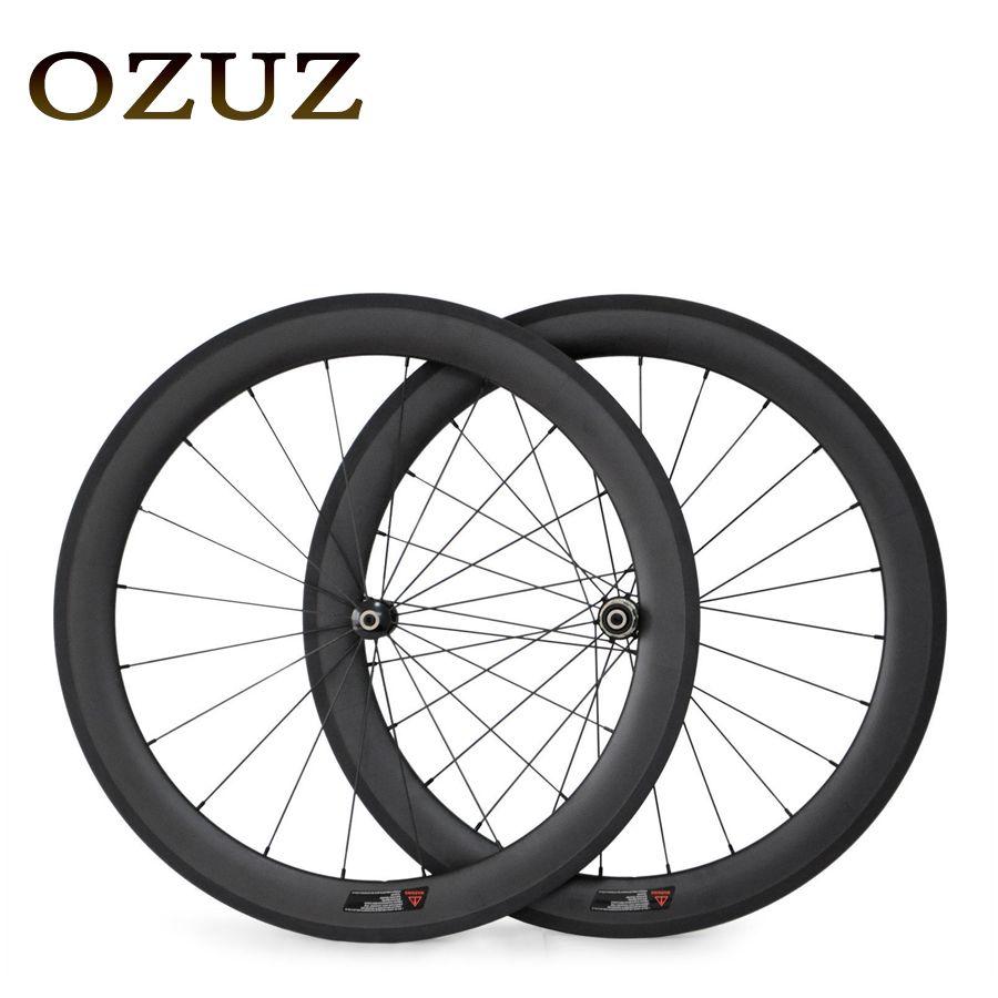 Factory Sales 700C Carbon Wheels Straight Pull 50mm Depth Clincher Carbon Road Bike Bicycle Wheelset Powerway R36 Hub 23mm Width