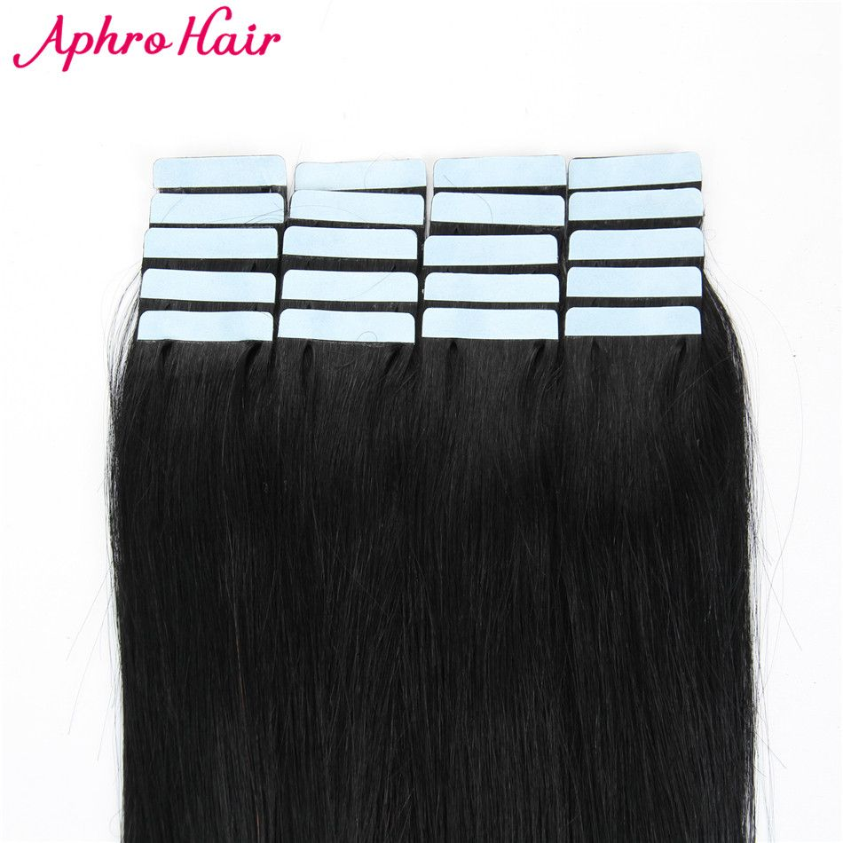 Aphro Hair Tape In Hair Extensions Non-Remy 20 piece 50g Straight Hair 100% Human Hair 20
