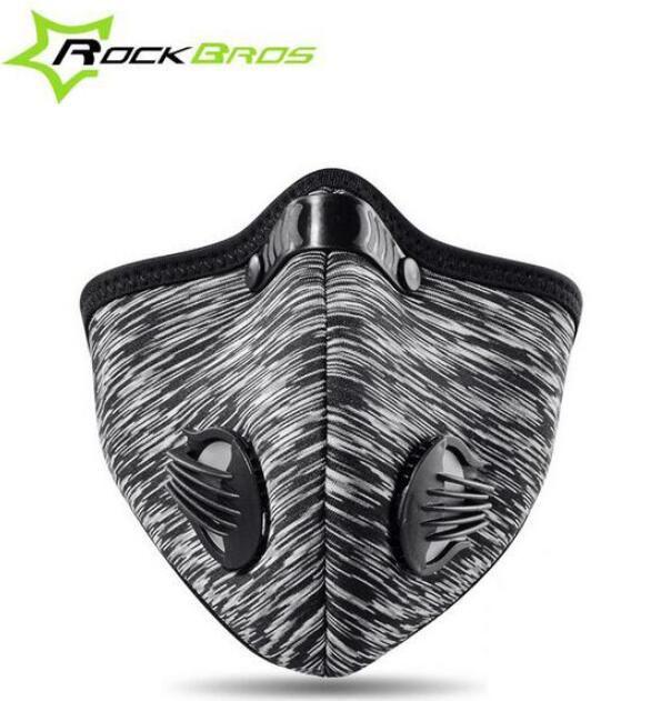 ROCKBROS Maske Atmungsaktiv Winddicht Radfahren Maske Filter Neopren Aktivkohle Dunst Traning Maske Fahrrad Zubehör