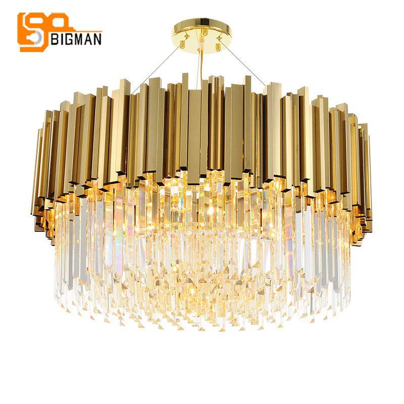 new luxury crystal chandelier lighting modern lamp for living room dinning room gold kristallen kroonluchter LED lights