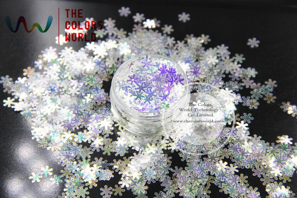 TCR6321A White with blue light shinning colors glitter Snowflake shapes 6MM size  amazing sparkles for Nail Art and DIY supplies