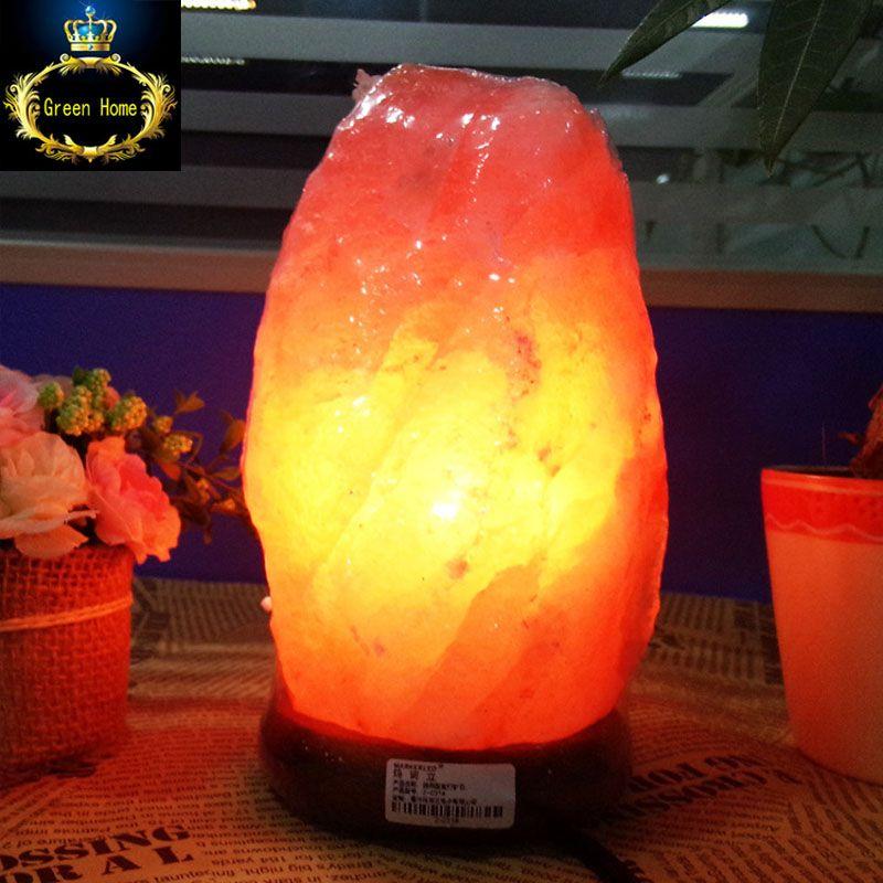 Гималайской Соли Лампы природный минерал света с дерева ним База + вилка + + 3 Вт лампы для очистки воздуха терапии