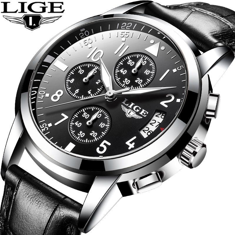 LIGE Männer Casual Leder Business Uhr Herren Uhren Top Luxus Quarz Armbanduhr Männer Sport Wasserdichte Chronograph Montre Homme
